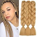 Original Jumbo Braids Hair Extension 3pcs Golden Brown Color 24inch 100g/pc For Twist Box Crochet Braiding Hair (golden)