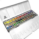 Royal Talens - Rembrandt Profesional Color de Agua - Metal Box Of 24 Bandejas con Pincel Sable - de Lujo Set