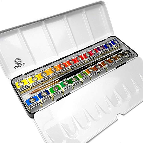 Royal Talens - Rembrandt Professional Water Colour - Metal Box of 24 Pans with Sable Brush - De Luxe Set