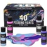 Set de 40 Pinturas Acrilicas Pouring, Tubo 60mL, 40 Colores Vibrantes, Pintura Acrilica ya lista, Pintura liquida para Lienzos para Pintar, Papel, Madera