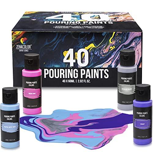 Zenacolor Kit di 40 Colori Pouring Fluid Acrilico, Tubetti 60ml, 40 Colori Vivaci, Pittura Acrilica già Pronta, Pittura Fluida per Dipingere su Tela, Carta, Legno
