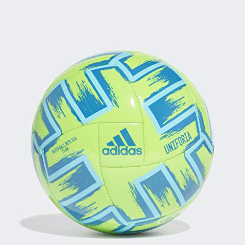 adidas Uniforia Club Euro 2020 Machine-Stitched Soccer Ball, Solar Green/Bright Cyan/Glory Blue 4
