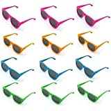 Sunglasses Neon Colored Glasses for Pary, Costume Accessory - Vintage Eyewear Shades for Kids Of All Ages - Pack of 12