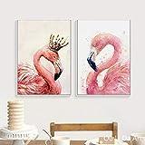KWzEQ Pareja nostálgica Flamingo Lienzo Impresiones Pintura al óleo sobre Lienzo Moderno hogar Arte de la Pared decoración pintura60X90cmx2Pintura sin Marco
