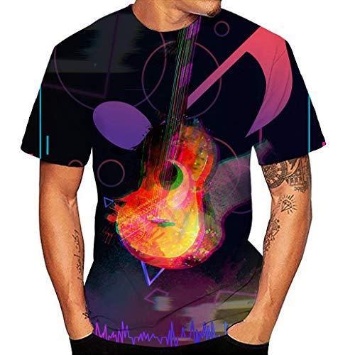 Yowablo T-Shirt Homme Femme Nouveau Design 3D Impression Col Rond Musical Chemise à Manches Courtes Top Blouse (XXL,11 Multicolore)