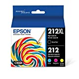 Epson 212XL, Standard-capacity Color and High-capacity Black Ink Cartridges, (CMYK) 4-Pack