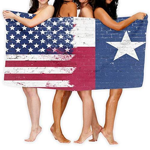 Lewiuzr Us Texas Bandera Americana Vivid Toalla de baño Envolturas Toallas de Ducha Cubiertas de Ducha Batas para Nadar Surf Piscina Viajes Vocación