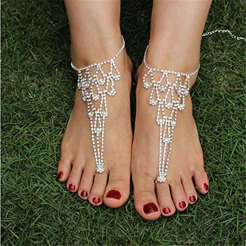ZYYXB Pulsera de tobillo con diamantes de imitación dobles para niñas, tobillera de playa, tobillera, cadena de pie, ajustable, para mujer