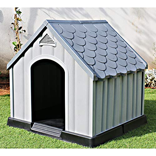 Ram Quality Products Innovative Outdoor Pet House Large Waterproof Dog Kennel Shelter for Small, Medium, and Large Dogs, 36 x 34.5 x 36 Inches, Gray