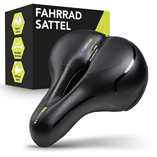 VELAAS ® Fahrradsattel – Memory Foam Sattel mit Regencover - ergonomisches Hollow Design – inkl. Fahrrad Werkzeug zur Montage – mit Reflektorband für das Bein (Schwarz)