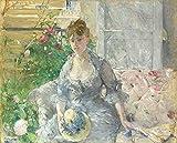 JH Lacrocon Berthe Morisot - Mujer Joven Sentada En Un Sofá Reproducción Cuadro sobre Lienzo Enrollado 90X70 cm - Pinturas Dama Impresións Decoración Muro