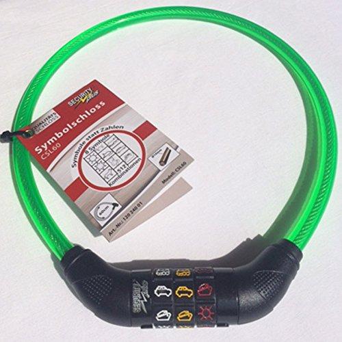 Security Plus Symbolschloss für Kinder Länge 600 mm, Kabeldurchmesser 10 mm