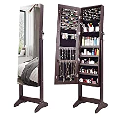 MIRROR FULL LENGTH & HOME DECOR- Once they come across the frameless mirror jewelry organizer stand, lots of people can not accept the jewelry mirror cabinet with frame anymore. Specially this explosion-proof and high-definition dressing mirror, clea...