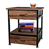 Sundale Outdoor Bedroom Nightstands, Side Table with 2 Drawers, Free Standing Floor Cabinet, Wooden End Table for Study & Living Room, Metal Frame, Retro Brown
