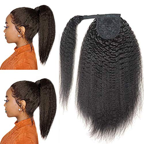 Wrap Around Afro Kinky Straight Human Hair Ponytail Extensions Italian Coarse Curly Yaki Straight Top Closure Clip Ins Ponytail Hair Piece Magic Paste Ponytail Hair Bun Extensions