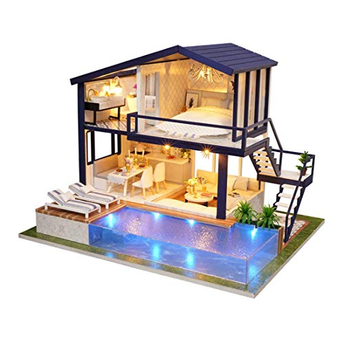 UniHobby DIY Miniature Dollhouse Kit Time Apartment DIY Dollhouse Kit with Wooden Furniture Light Gift House Toy for Adults