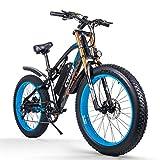 cysum vélos électriques pour Hommes, Gros Pneu 26 Pouces Ebikes vélos Tout Terrain, VTT pour Adulte avec Li -Batterie Amovible 48V 17Ah E-Bike (Black-Blue)