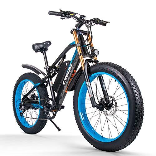 cysum E-Bikes für Herren, Fat Tire 26-Zoll Ebikes Bikes All Terrain, Mountainbike für Erwachsene mit 48V 17Ah abnehmbarem Li-Battery Snow E-Bike (Black-Blue)