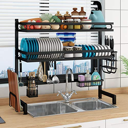 LTLJX Over the Sink Dish Drainer Kitchen Drainers for Dishes,stainless Steel Dish Rack,removable Cutlery Cutting Board Wine Glasses Cups Holder,Carbonsteel62cmdoublelayer