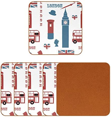 Square Drinks Coaster Set London Eiffel UK Flag Bus Coasters for Drinks for Housewarming Apartment product image