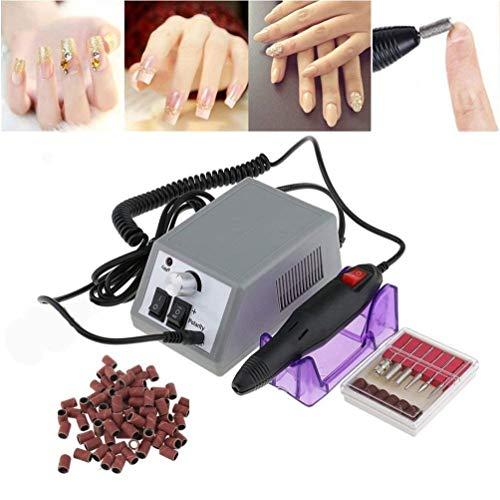Manicura eléctrica lijadora para uñas, lijadora eléctrica con 6 puntas de lijado para salón + 100 anillos de lijado