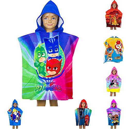 Poncho de baño para niños con capucha, 55 x 110 cm, varios diseños – Rey León, PJ Masks, Minnie Mouse, Cars, LOL Surprise, Top Wings, Sam Badepponcho Albornoz Unisex Poncho (PJ Masks)
