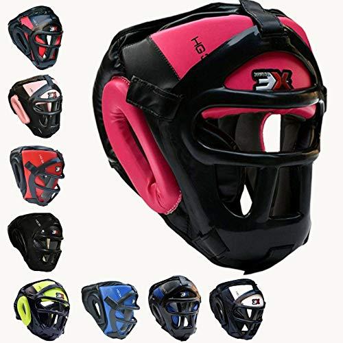 3X Professional Choice Grill Kopfschutz für MMA Boxen Kopfschutz Maya Leder verstecken Helm MMA Ausrüstung Kampfkunst Kick Face Kampftraining Kopfbedeckung Sparring Schutz