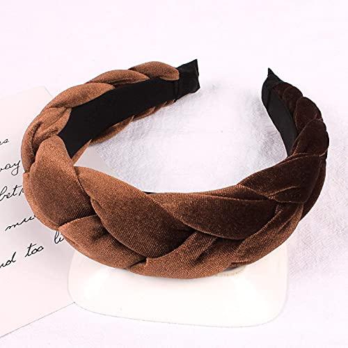 Cinta para el pelo para mujer, de malla de alambre, de tela, con nudos, estilo vintage, turbante, para el pelo, estilo bohemio, marrón