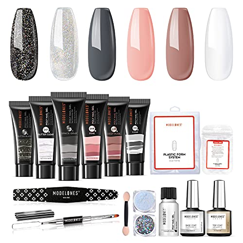 Modelones Poly Nail Gel Kit Enhancement Builder Gel Nude Gray Glitter Nail Extension Gel Kit with Slip Solution Trial Professional Technician All-in-One French Kit