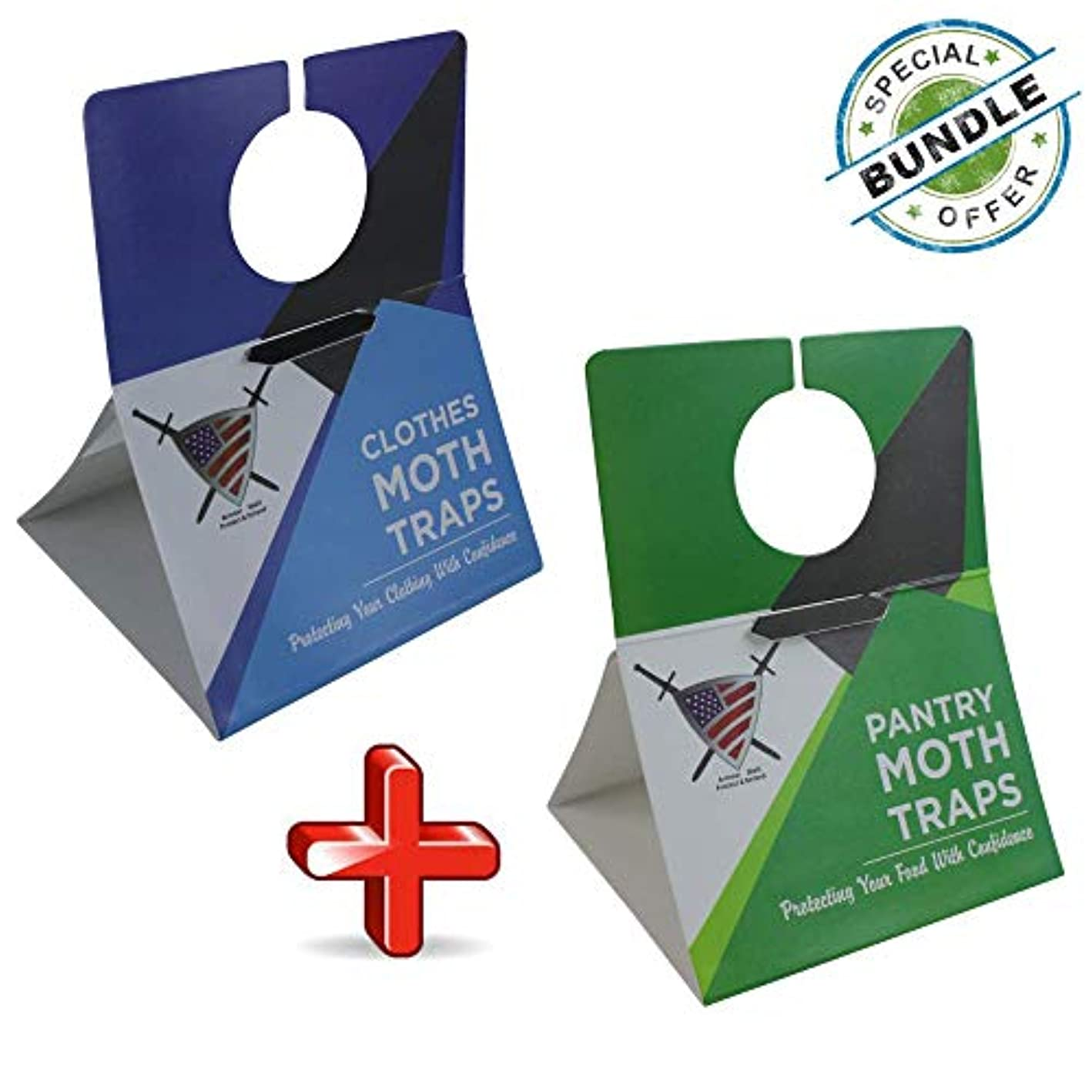 Moth Traps for Clothes and Pantry - Moths Protection with Unique Hanging Design, Protect with Non Toxic Formula That is Safe for Your Family and Long Lasting. (6 Pack Clothes/6 Pack Pantry)