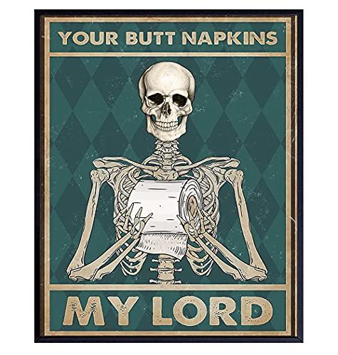 Your Butt Napkins My Lord - Gothic Bathroom Decor - Funny Bathroom Wall Art - Toilet Paper Wall Art - Restroom Sign - Bath Wall Decor - Skeleton Decoration - Funny Wall Decor - Powder Room Decor Print