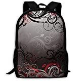 XCNGG Sac à Dos d'impression Plein Cadre Adulte Sac à Dos décontracté Sac à Dos Cartable NiYoung Travel Backpack Laptop Backpack Large Diaper Bag - Red and Black Mystic Magical Forest Inspired Floral