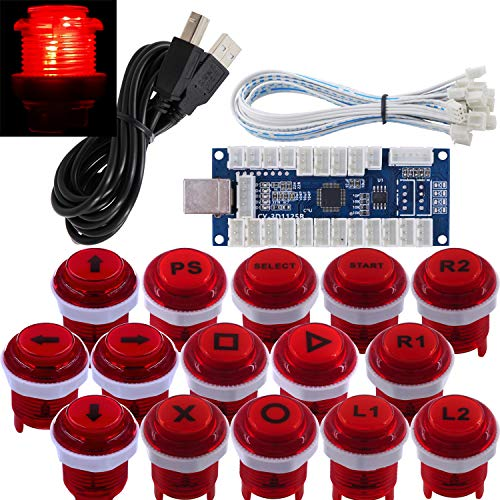 SJ@JX ArcadeGame Stick DIY KitLED ButtonsCherryMXMicroswitch Lamp Controller USB EncoderGamepad Cable forHitBox PC PS3 MAME Raspberry Pi