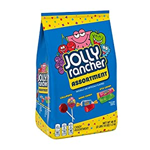 Contains one (1) 46-ounce JOLLY RANCHER Assortment Bag that includes Lollipops, Hard Candy and STIX Candy Long-lasting JOLLY RANCHER candy you can take with you on the go, to work, on snack breaks and back home again at the end of the day Fruit-flavo...
