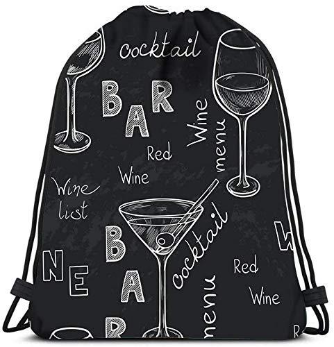 IUBBKI Mochila con cordones, vasos esbozados para vino tinto, martini blanco y...