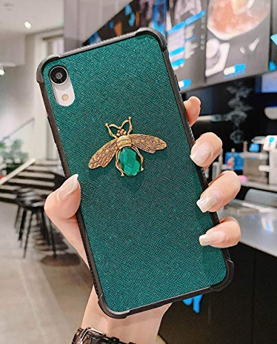 KERZZIL iPhone XR Case, Shockproof Glitter Sparkly Bling 3D Diamond Matel Bee Girl Women Soft Bumper Protective Phone Case Cover for Apple iPhone XR 6.1inches (Green)