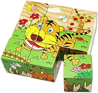 """السداسية """"لغز خشبية"""" للأطفال-ستة أنواع من الحيوانات"""