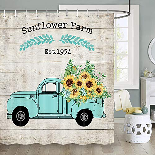 Sunflower Shower Curtain, Yellow Sunflower on Teal Truck with 'Sunflower Farm' on Rustic Wood Shower Curtain, Farmhouse Shower Curtain Country Bathroom Set, Fabric Shower Curtain Hooks Include, 70 in