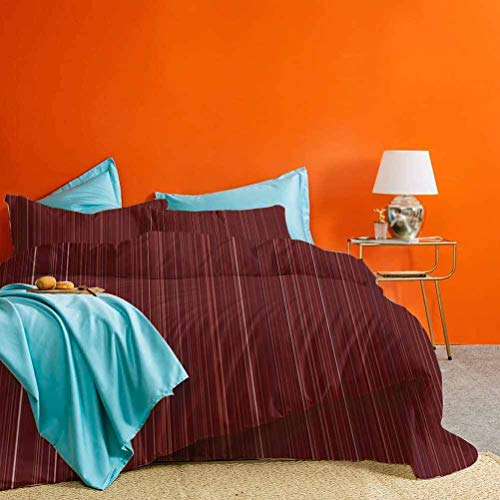 Maroon Bed Set Classical Striped Display with Thin Lines Modern Fashion Repetitive Abstract Pattern Best Material/Highly Durable Maroon 3 Piece (1 Duvet Cover and 2 Pillow Shams) California King