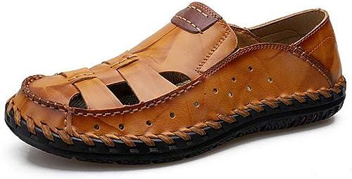 Fuxitoggo Sandales d'été pour pour Hommes en Cuir Sandales d'extérieur en Cuir à Bout fermé Chaussures de Trekking Chaussures de Plage de Marche (Couleur  D, Taille  38) (Couleuré   on, Taille   44)  magasins d'usine