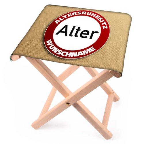 Lustapotheke® Klapphocker aus Holz Verkehrzeichen zum Geburtstag mit Namen und Alter bedruckt