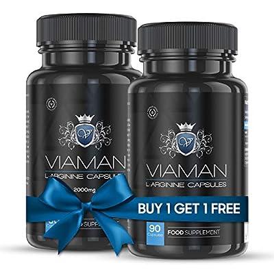 Viaman Arginine 2000 mg - 90 Tablets for Men, Diet Performance Booster Supplement, 260 g