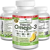 Best Triple Strength Omega 3 Fish Oil Pills - 180 Capsules -...