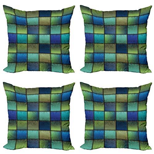 ABAKUHAUS Vistoso Set de 4 Fundas para Cojín, Geométrico Moderno Bohem, Estampado Digital en Ambos Lados y Cremallera, 60 cm x 60 cm, Azul Verde