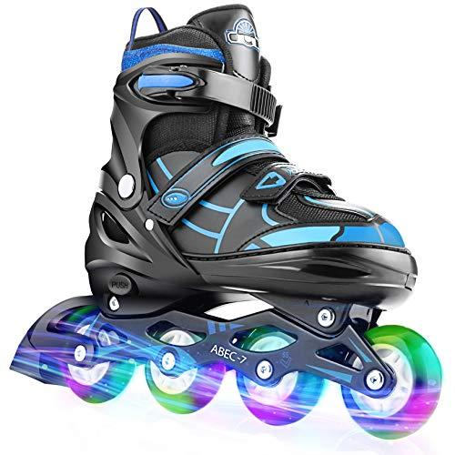 Hikole Vestellbare Inliner Größe 30-41 Inline Skates Kinder mit beleuchteten Rädern Rollschuhe für Jungen Mädchen Anfänger Damen Herren