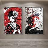 Arte de la pared de la lona 2 piezas 40x60cm sin marco Geisha japonesa y pintura al óleo del pez Yin-Yang sobre lienzo Arte de la pared Imagen de samurái para la decoración de la sala de estar