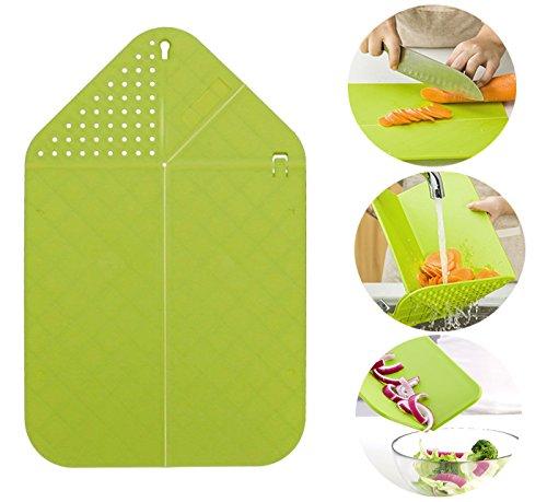 Rinse & Strainer Foldable Cutting Board, Veggies & Fruit Cutting Board, BPA-Free Plastic Multifunctional Cutting Board Mat (Green)