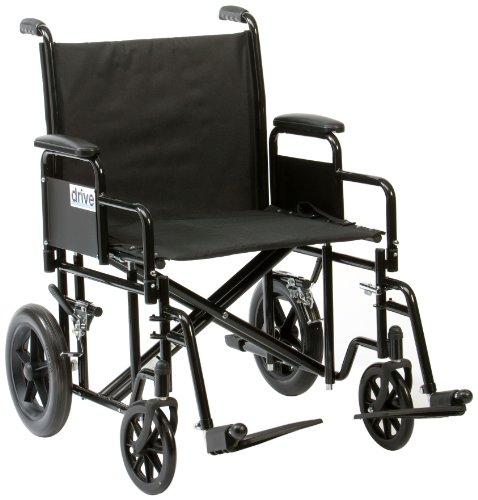 Drive Medical BTR22BLK Bariatría - Silla de ruedas para personas con sobrepeso (acero), color negro