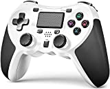 TERIOS Wireless Controllers Compatible with Playstation 4 Game Controllers for PS-4 Pro, PS-4 Slim-Built-in Speaker - Stereo Headset Jack Multitouch Pad - Rechargeable Lithium Battery(White)