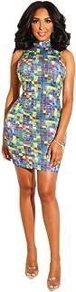 Colorful Plaid Diamonds Dress Women Fashion Sexy Mock Neck Sleeveless Mini Club Party Dress Summer